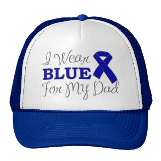 I Wear Blue For My Dad Blue Awareness Ribbon Trucker Hats
