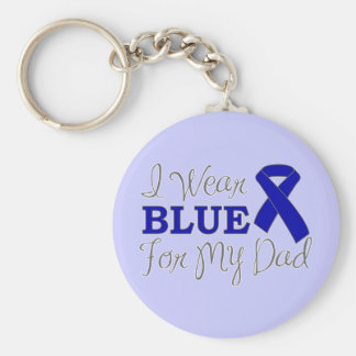 I Wear Blue For My Dad (Blue Awareness Ribbon) Keychain