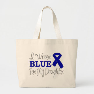 I Wear Blue For My Daughter (Blue Ribbon) Large Tote Bag