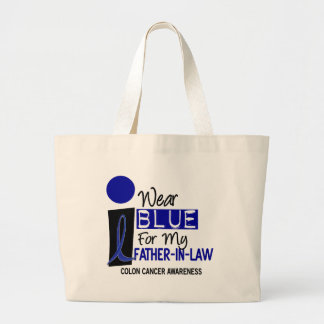 I Wear Blue For My Father-In-Law 9 COLON CANCER Large Tote Bag