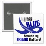 I Wear Blue For My Friend 33 COLON CANCER 2 Inch Square Button