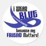I Wear Blue For My Friend 33 COLON CANCER Sticker
