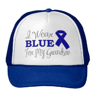 I Wear Blue For My Grandson Blue Ribbon Mesh Hat