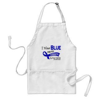 I Wear Blue For My Husband 42 Colon Cancer Adult Apron