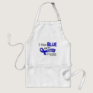 I Wear Blue For My Husband 42 Colon Cancer Adult Apron