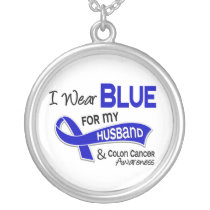 I Wear Blue For My Husband 42 Colon Cancer Silver Plated Necklace