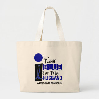 I Wear Blue For My Husband 9 COLON CANCER Apparel Large Tote Bag