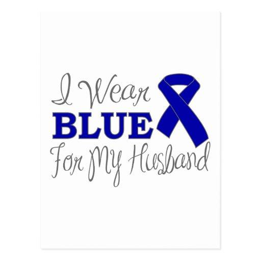 I Wear Blue For My Husband (Blue Awareness Ribbon) Postcard