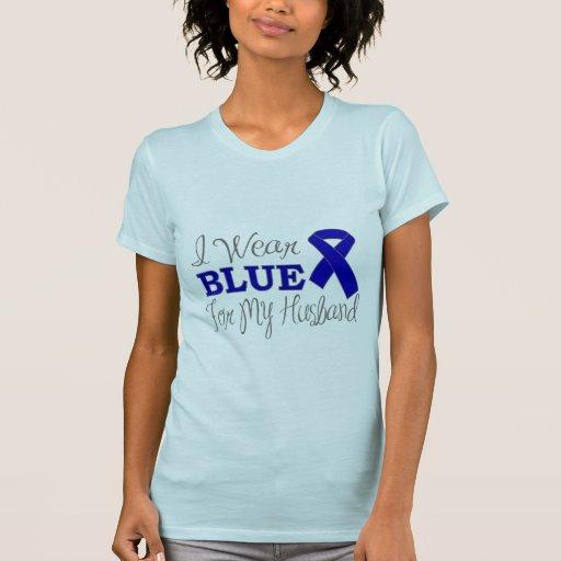 I Wear Blue For My Husband (Blue Awareness Ribbon) Tees