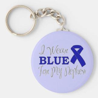 I Wear Blue For My Nephew (Blue Awareness Ribbon) Keychain