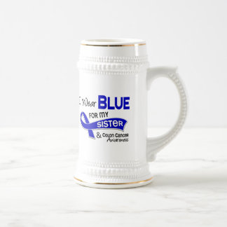 I Wear Blue For My Sister 42 Colon Cancer 18 Oz Beer Stein