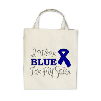 I Wear Blue For My Sister (Blue Awareness Ribbon) Canvas Bags