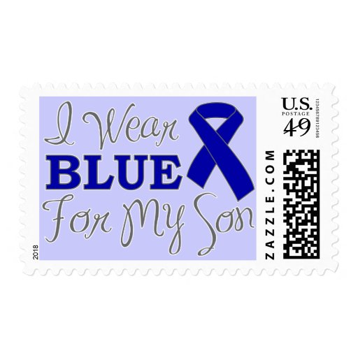I Wear Blue For My Son (Blue Awareness Ribbon) Postage