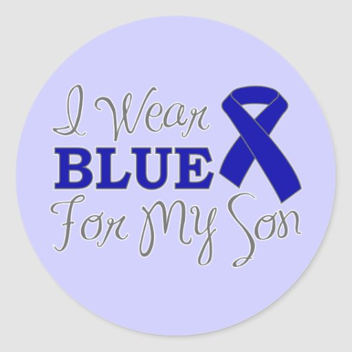 I Wear Blue For My Son (Blue Awareness Ribbon) Classic Round Sticker
