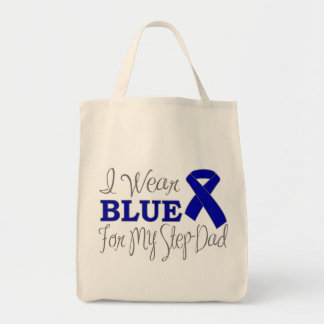 I Wear Blue For My Step-Dad (Blue Ribbon) Tote Bag