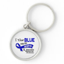 I Wear Blue For My Wife 42 Ankylosing Spondylitis Keychain