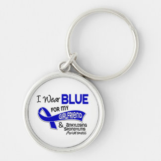 I Wear Blue Girlfriend 42 Ankylosing Spondylitis Keychain