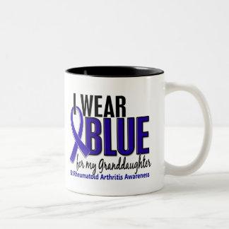 I Wear Blue Granddaughter 10 Rheumatoid Arthritis Two-Tone Coffee Mug