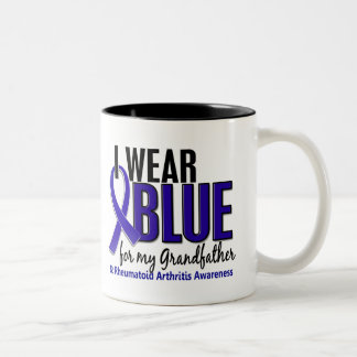 I Wear Blue Grandfather Rheumatoid Arthritis RA Two-Tone Coffee Mug