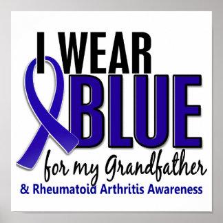I Wear Blue Grandfather Rheumatoid Arthritis RA Print