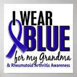 I Wear Blue Grandma Rheumatoid Arthritis RA Print