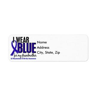 I Wear Blue Grandmother Rheumatoid Arthritis RA Return Address Label
