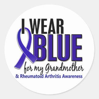 I Wear Blue Grandmother Rheumatoid Arthritis RA Classic Round Sticker