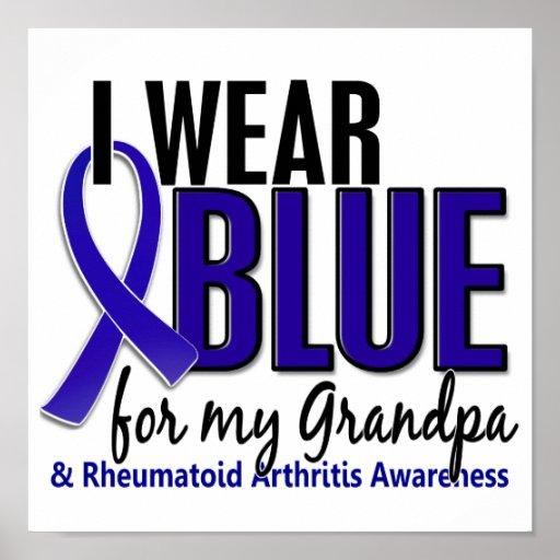 I Wear Blue Grandpa Rheumatoid Arthritis RA Print