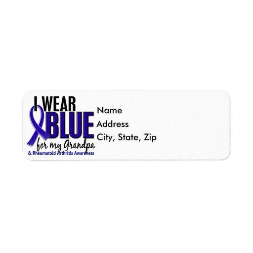 I Wear Blue Grandpa Rheumatoid Arthritis RA Return Address Label