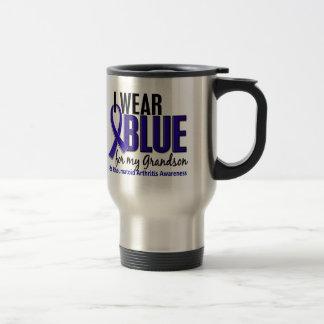 I Wear Blue Grandson 10 Rheumatoid Arthritis RA 15 Oz Stainless Steel Travel Mug