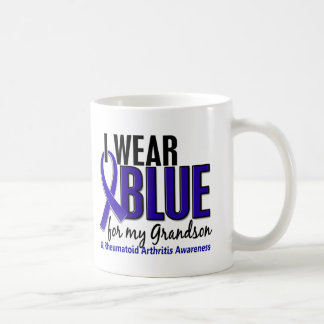 I Wear Blue Grandson 10 Rheumatoid Arthritis RA Classic White Coffee Mug