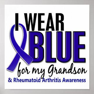 I Wear Blue Grandson 10 Rheumatoid Arthritis RA Poster