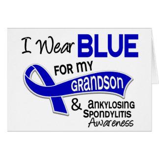 I Wear Blue Grandson 42 Ankylosing Spondylitis Greeting Card