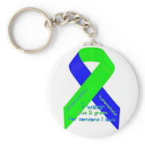 I wear blue/green for someone I love keychain