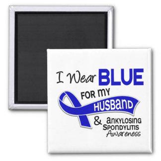 I Wear Blue Husband 42 Ankylosing Spondylitis AS 2 Inch Square Magnet