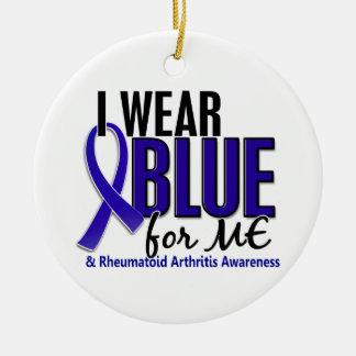 I Wear Blue Me Rheumatoid Arthritis RA Double-Sided Ceramic Round Christmas Ornament