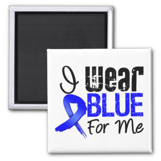 I Wear Blue Ribbon For Me - Colon Cancer 2 Inch Square Magnet