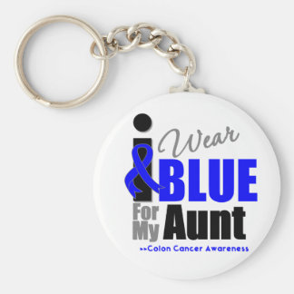 I Wear Blue Ribbon For My Aunt Keychain