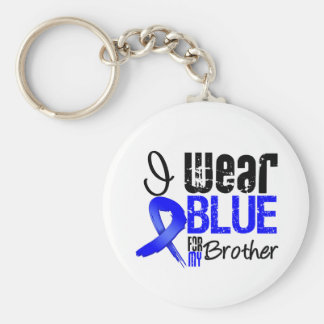 I Wear Blue Ribbon For My Brother - Colon Cancer Basic Round Button Keychain