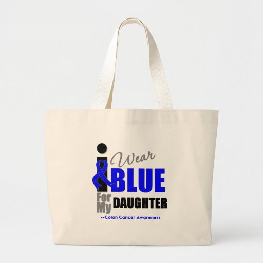 I Wear Blue Ribbon For My Daughter Canvas Bags