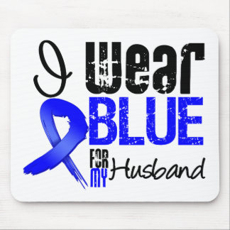 I Wear Blue Ribbon For My Husband - Colon Cancer Mouse Pads