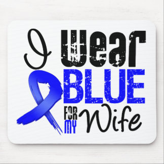 I Wear Blue Ribbon For My Wife - Colon Cancer Mouse Pads