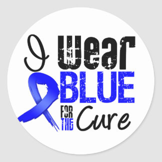 I Wear Blue Ribbon For The Cure - Colon Cancer Classic Round Sticker