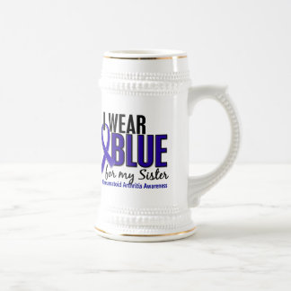 I Wear Blue Sister Rheumatoid Arthritis RA 18 Oz Beer Stein