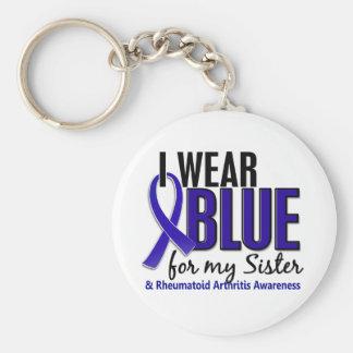 I Wear Blue Sister Rheumatoid Arthritis RA Keychain