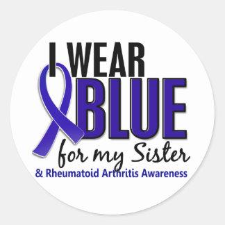 I Wear Blue Sister Rheumatoid Arthritis RA Classic Round Sticker
