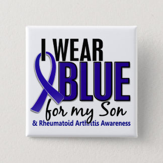 I Wear Blue Son 10 Rheumatoid Arthritis RA Button