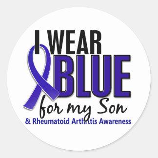I Wear Blue Son 10 Rheumatoid Arthritis RA Classic Round Sticker