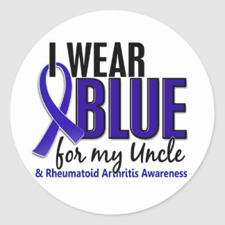 I Wear Blue Uncle Rheumatoid Arthritis RA Round Sticker