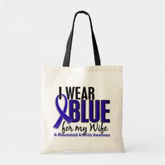 I Wear Blue Wife 10 Rheumatoid Arthritis RA Budget Tote Bag